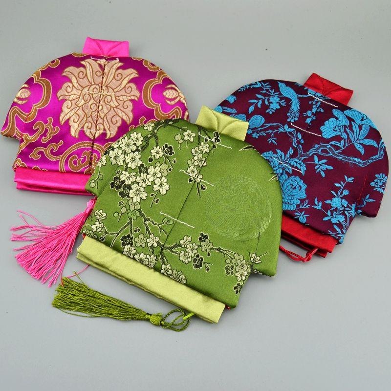 style chinois Tassel Petit Zip Sac Party Porte-monnaie Noël Favors Fashion Craft Silk Brocade Bijoux Pouch Emballage cadeau Sacs 10pcs / lot