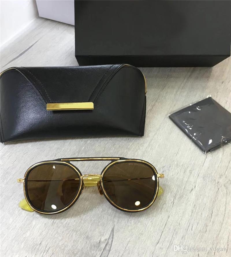 Новые Мужчины Золотые / Темные Солнцезащитные очки Матовая Солнцезащитные Очки Желтый Пилот Браун Унисекс Классическая коробка Очки с Черным IUXKG
