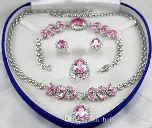 Bridal Jewellery Set da donna Collana con cristalli rosa Orecchini con bracciale Ring + (scatola)