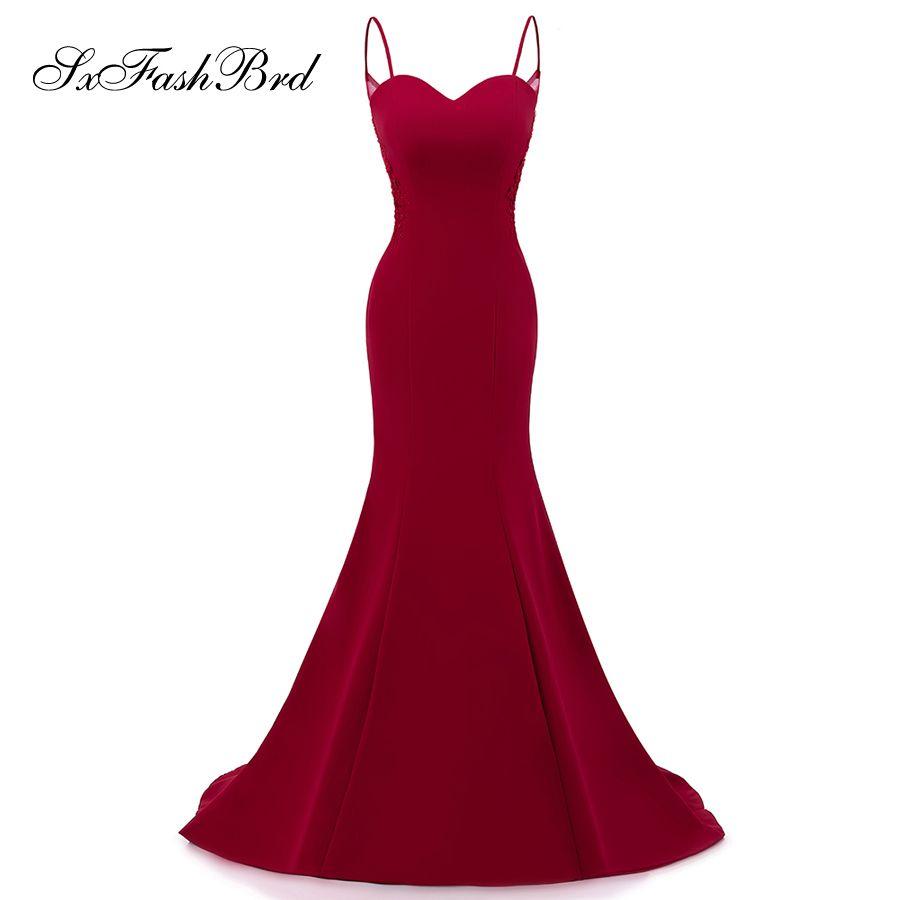 Girls Dress Elegant New Spaghetti Sweetheart Mermaid Long Satin Party Formal Evening Dresses Women Prom Dress Gowns