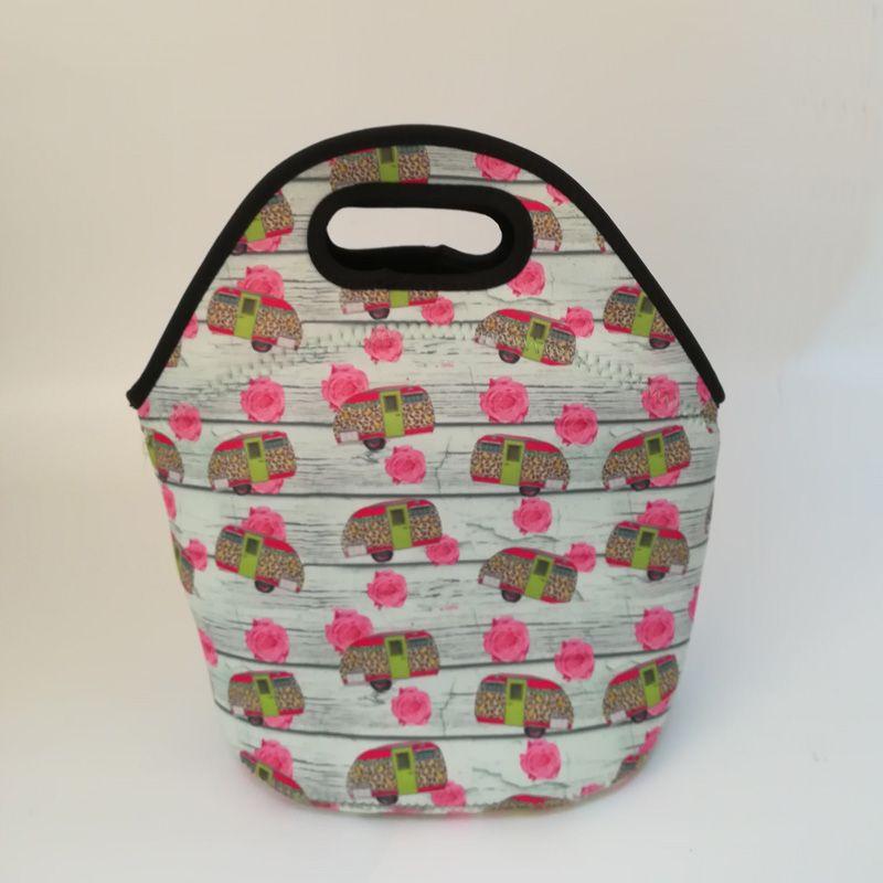 Camper-Car Lunch Bag Wholesale Blanks Neoprene Unicorn Lunch Bag Kids Food Carrier Cute Lunch Box DOM106882