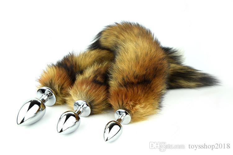 35 cm uzun Tilki Kuyruğu Anal Plug Metal Butt Plug Anal Seks Oyuncak 7.5 cm 8.5 cm 9.5 cm fiş için seçim