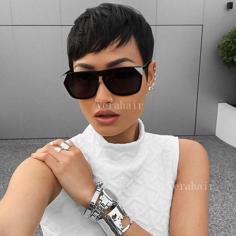 Parrucche bob corte per donne nere parrucca capelli corti taglio capelli parrucche brasiliane capelli del merletto con frangia parrucche Pixie capelli umani