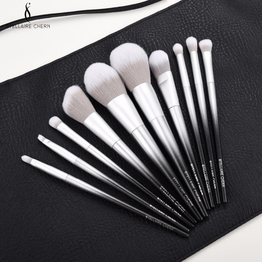 SC Pro 10pcs Makeup bruches Set Soft Synthetic Collection Kit with Powder Contour Eyeshadow Eyebrow black sliver make up Brushes C18111401
