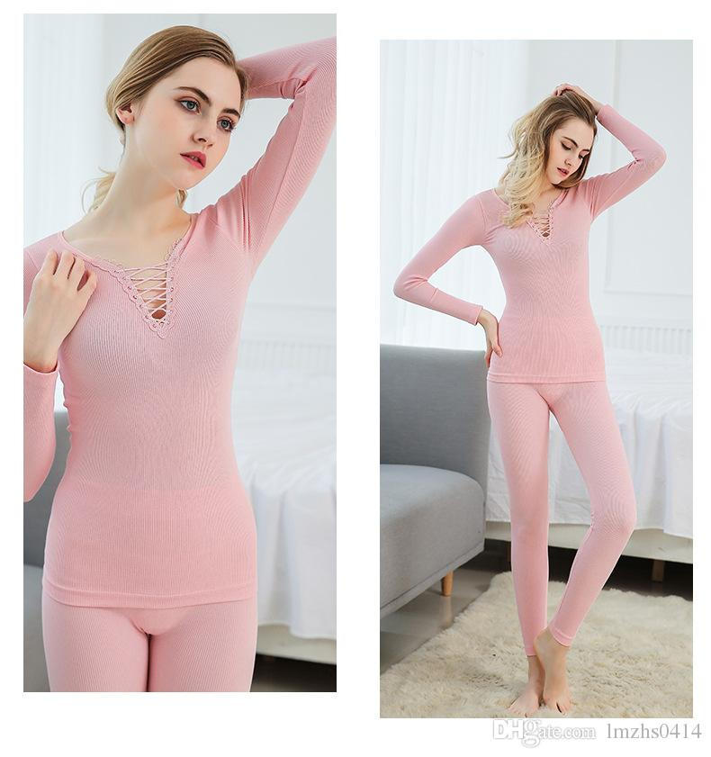 New the autumn winter sexy body suit Ms. Monolayer v-neck cultivate one's morality knitting warm seamless pajamas