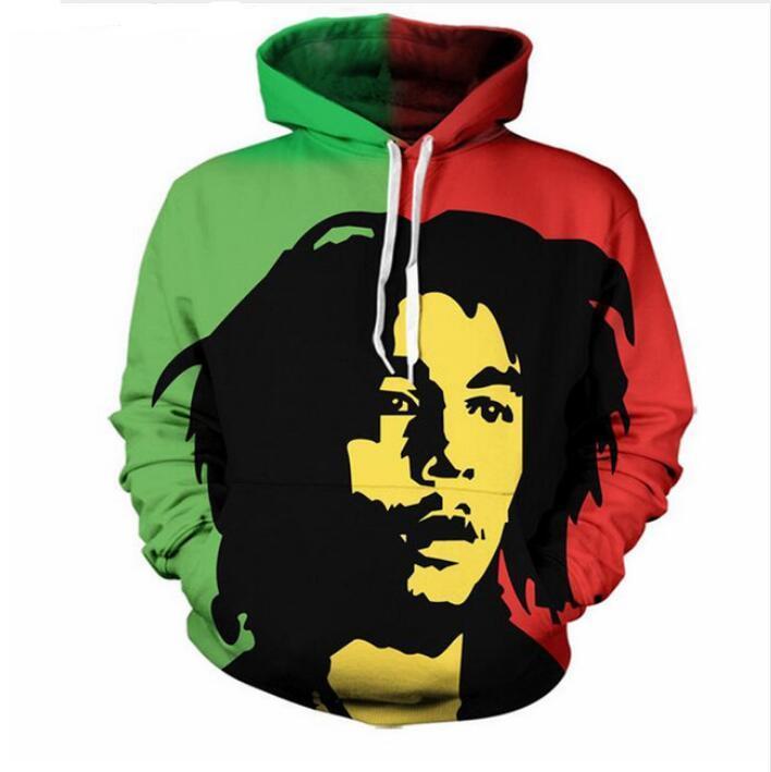 Nueva Moda Mujeres / Hombres Parejas Bob Marley Sudaderas con capucha de impresión 3d Sudadera con capucha de manga larga con capucha Pullover Top LMS0073
