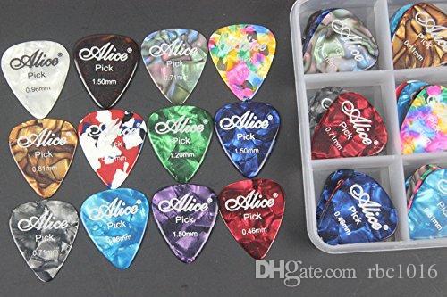 Alice Celulóide Guitarra Elétrica Picaretas Plectrum Várias Cores 0.46 0.71 0.81 0.96 1.20 1.50mm + Hard Case