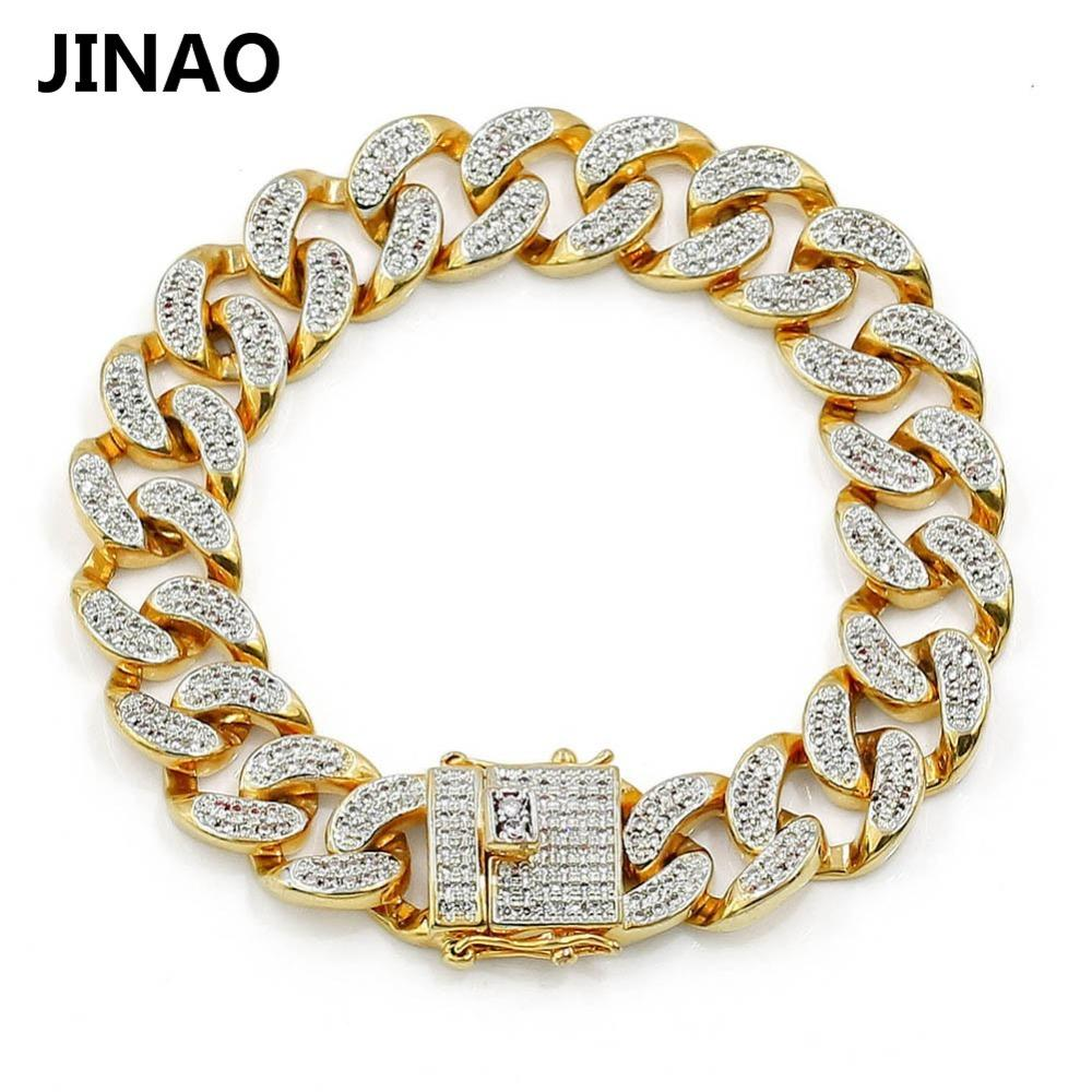 """JINAO New Fashion Gold Color Plated Micro Pave Cubic Zircon Bracelet All Iced Out 8"""" Length Cuban Chain Hip Hop Jewelry For Male Y1891709"""