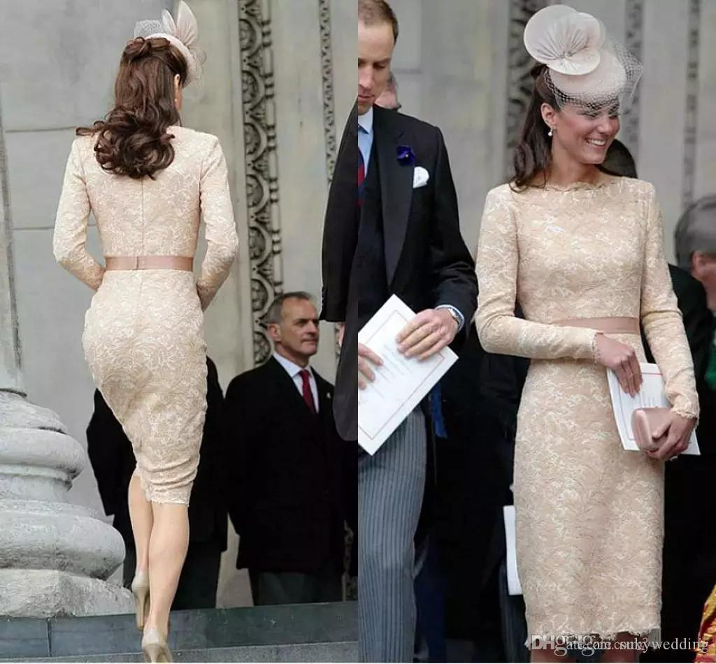 Champagne Kate Middleton Evening Dresses for Women Formal Wear Elegant Lace Long Sleeve Celebrity Dress Cocktail Party Gowns Knee Length