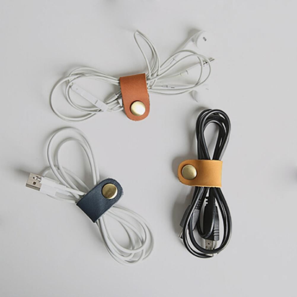 New Arrival 1PCS Headset Earphone Wire Portable USB Cable Cord leather Winder Headphone Case Korean Desk Manager