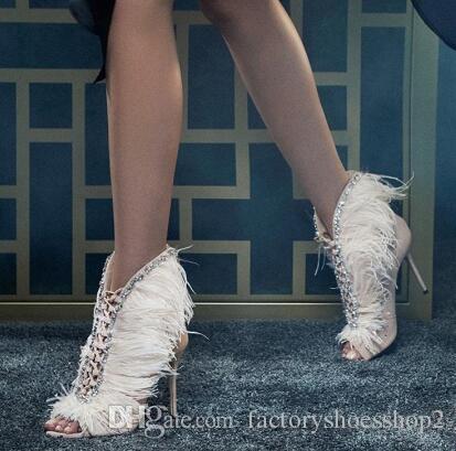 Moda Pelliccia estate delle donne caricamenti del sistema di cristallo di lusso Peep Toe Slip On Donne Pumps pista pattini della festa nuziale Zapatos Mujer
