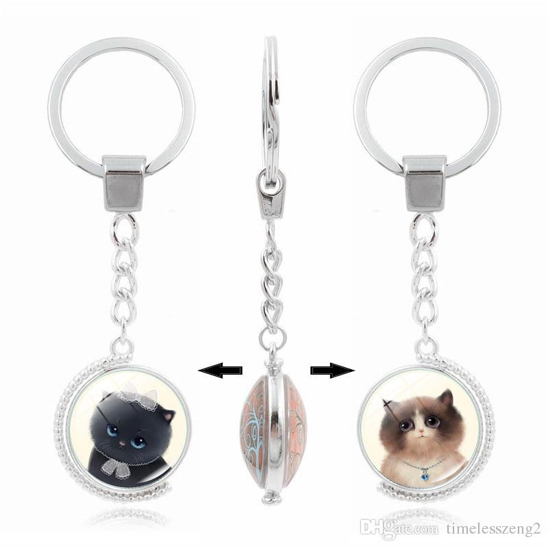 1480aa59c5 Double rotating cat pattern key chain Time Gem Cabochon key ring Rotate  jewelry great gift for child