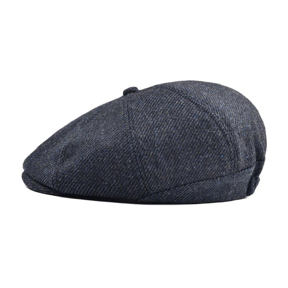 8770642327 Voboom Women Men Tweed Twill Woolen Newsboy Cap Navy Blue 8 Panel Country  Baker Boy Ivy Flat Cap Beret Hats Cabbie Boina 111 Y18102210 Cap Shop ...
