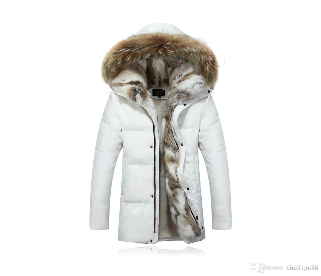 Down JacketsWinter Men's Duck Down Jackets Coats Real Rabbit Fur Men Women Lovers Fashion Thick Warm Parka Classic Mens jaqueta masculina