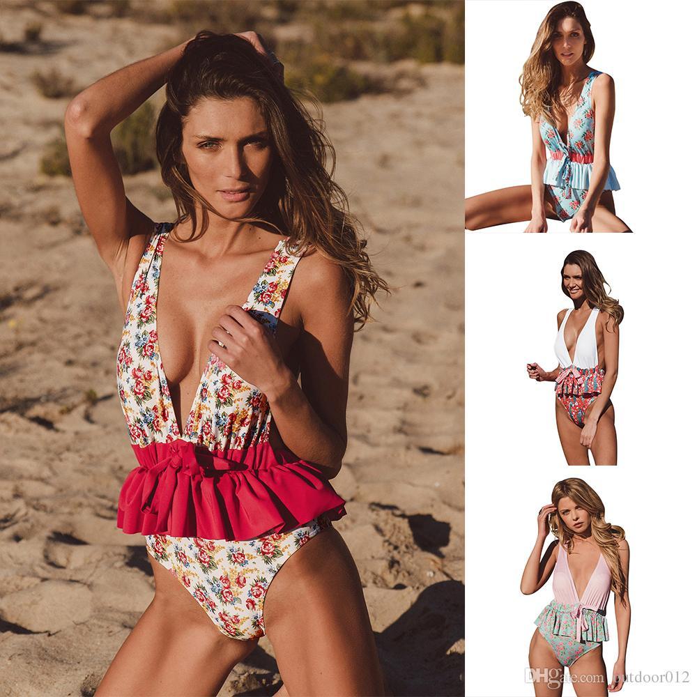 2018 Nuevo traje de baño Ruffled Large Deep cuello en V Arco Sexy Ladies One-piece bañador Swim Beachwear para mujeres 4 colores Mayorista