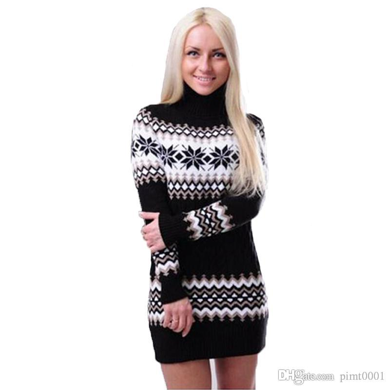 Women Christmas Sweater Dress.2019 Cwlsp Snowflake Twisted Christmas Sweater Autumn Winter Women Warm Striped Turtleneck Sweater Dress Pullover Pull Femme Qz1885 From Pimt0001