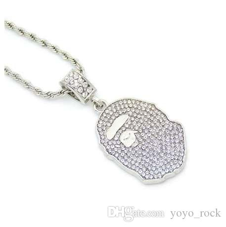 Hip Hop Iced Out Quavo Gargantilla Full Rhinestone Ape Colgante Collar presente Bling Rapper Jewelry