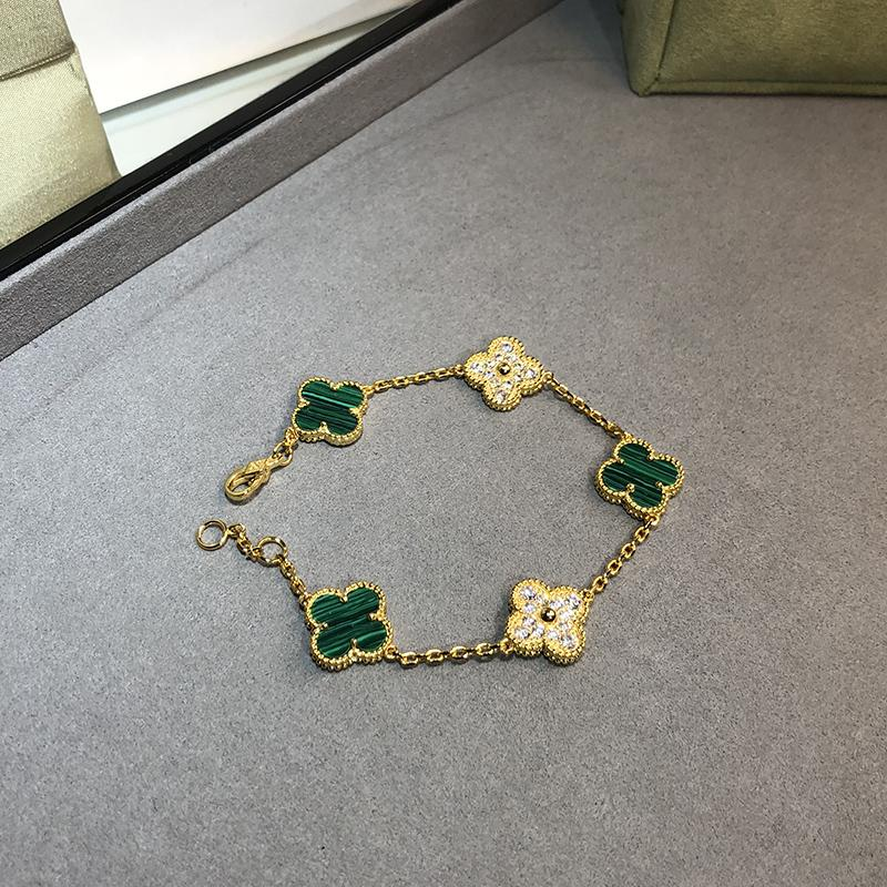 Hot ماركة 925 فضة مجوهرات الزفاف مجموعة للنساء لون الذهب قلادة الأخضر البرسيم ليف قلادة أقراط سوار مجموعة