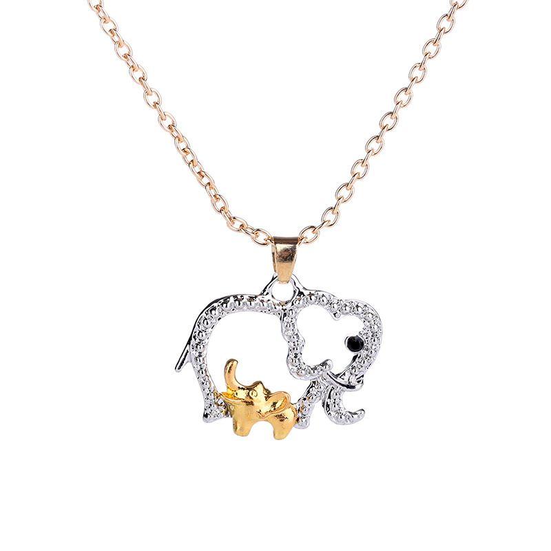 Elefant Halskette mit Baby Tier hübsche Halsketten Schmuck für Mutter Hot Gold versilbert Muttertag Weihnachtsgeschenke Kristall Halskette