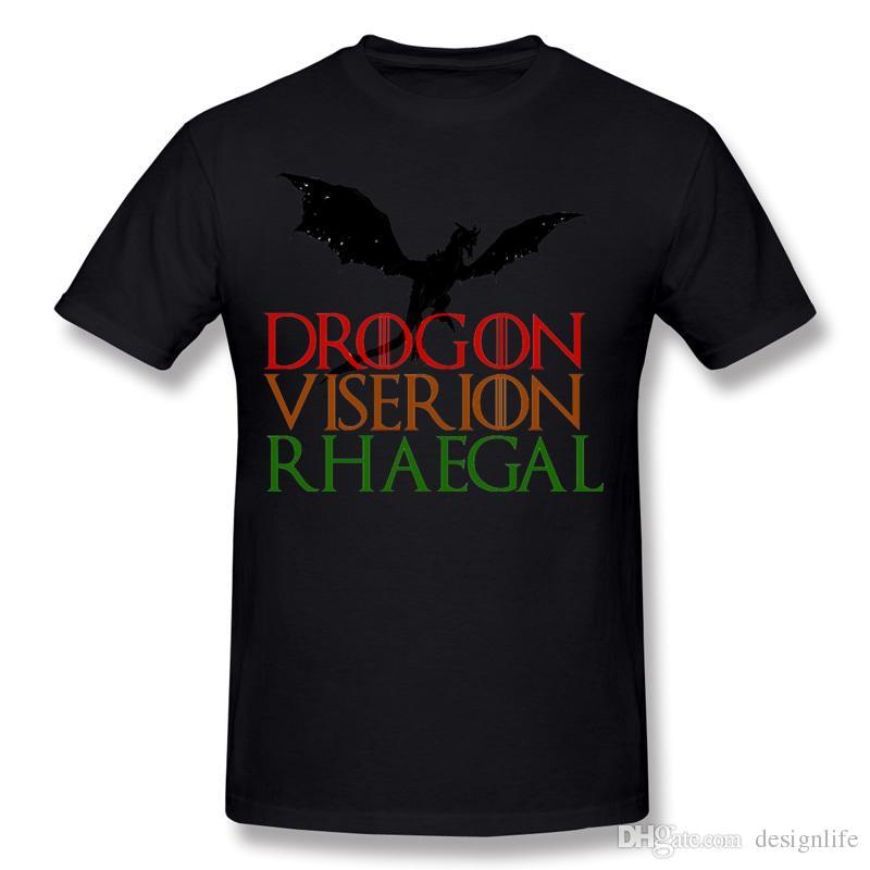 Meilleur choix Mens 100% coton Game of Throne T-shirt Drogon Mens O-Neck gris à manches courtes T-Shirt Plus Size T-shirt unique