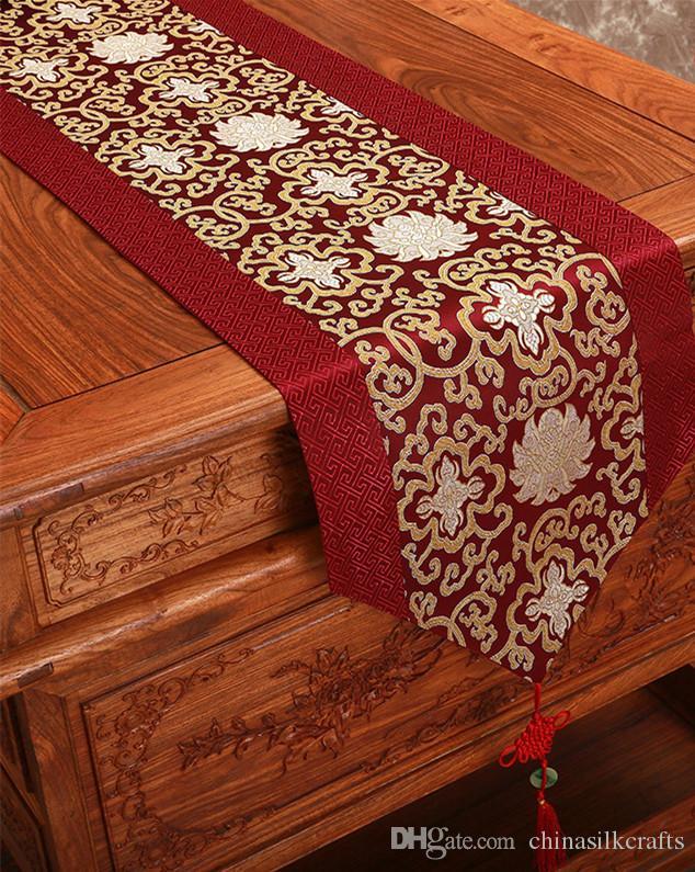 Baratos 300 cm de largo Fantasía de seda chino partido de cena de Navidad de la boda corredor de la tabla del damasco Mantel rectangular Mat Mesa de comedor