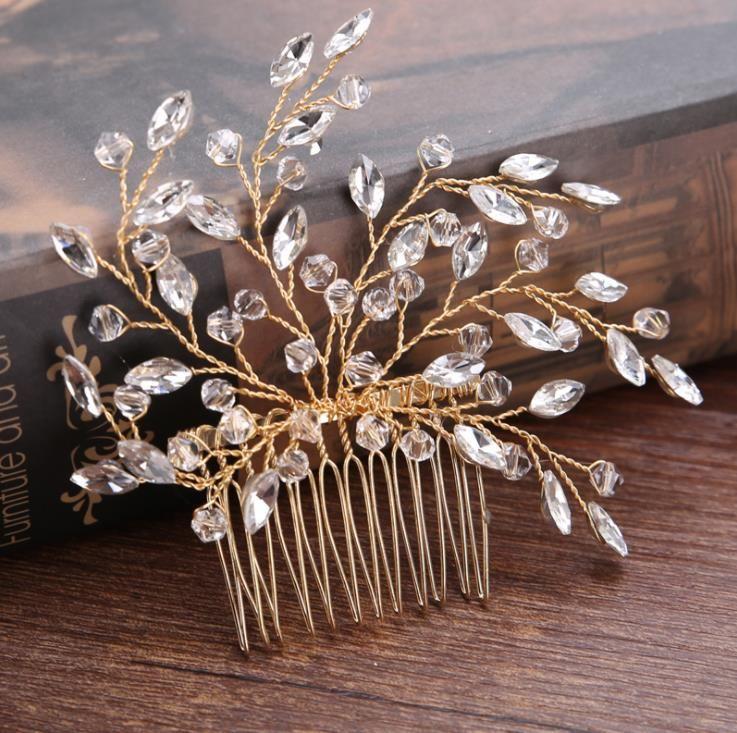 hecho a mano peine de cristal de vidrio, accesorios vestido de novia de oro y plata sombreros de la novia