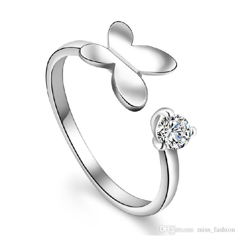 Eenvoudige Crystal 3D Butterfly Single Open Ring Open Design Nieuwe Meisje Vrouw Gift Charms Zilveren Sieraden