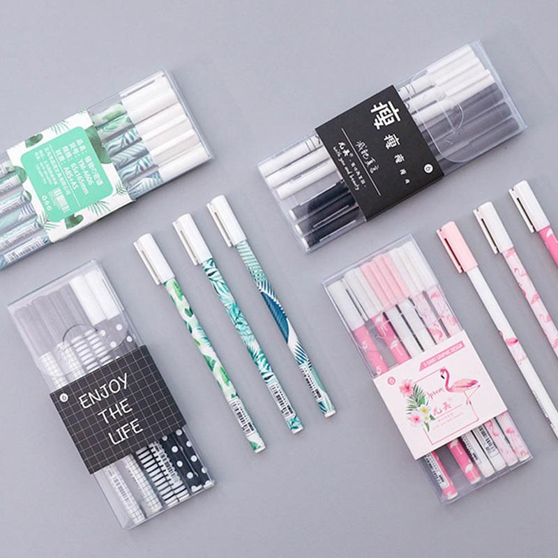 6 pcs/lot Green Plants Sakura Gel Pen Signature Pen Escolar Papelaria School Office Supply Tropical Leaves Promotional Gift