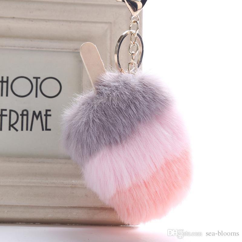 DHL libre 7 estilos titular de la piel de la bola de helado Pompón Llaveros Llaveros mujeres bolso de la llave del coche Mando felpa regalo de la joyería H586Q Y