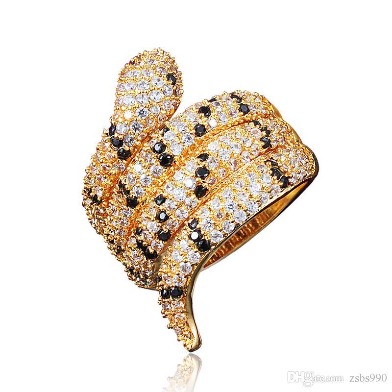 2018 Nuevo 18 K chapado en oro anillo de dedo de la serpiente con Zircon joyería del partido de moda para mujeres regalos de cumpleaños de calidad superior envío de la gota