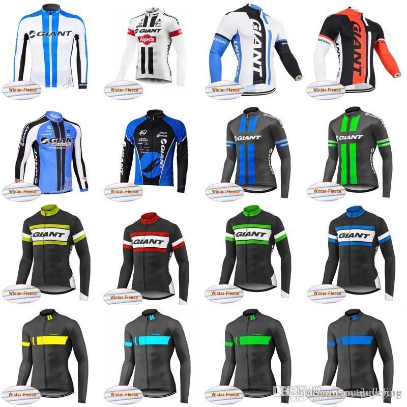 Team GIANT Cyclisme Hiver Polaire Thermique Jersey Haut Vente Hommes Pas Cher VTT Porter Vélo Haute Qualité Vêtements D1102