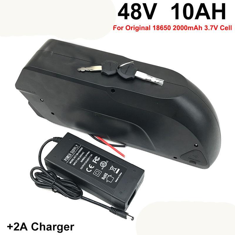 48 В 10 Ач Батарея Для ebike с 18650 Ячейками Встроенная 15А BMS Литиевая Батарея с 2А Зарядное Устройство Электрический Батареи Велосипеда 48 В