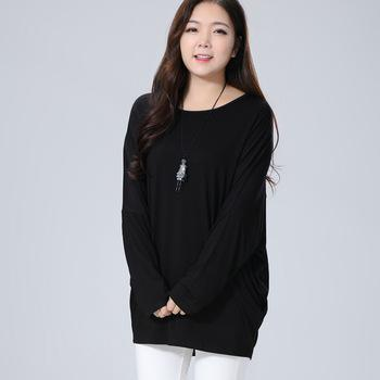 6XL Plus Size Women T-shirt bat sleeves Long t shirt Loose 5XL Black Large Big Size Female Tops 2017 Summer Modal Breathable