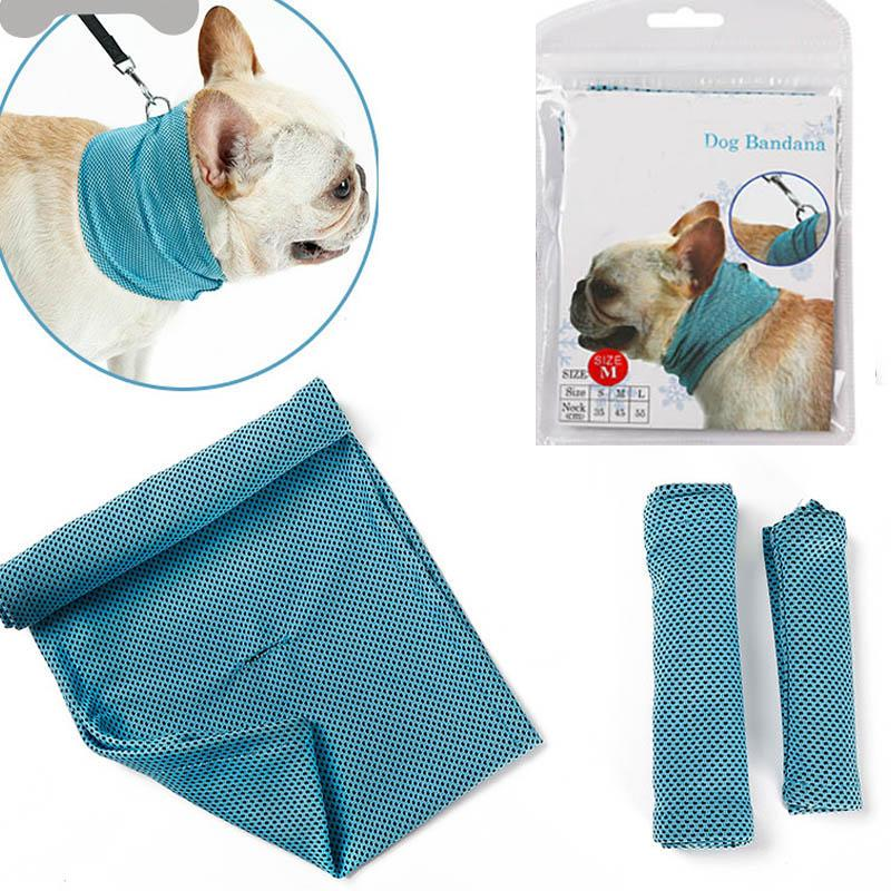 Ice Cooling Towel Bandana For Pet Dog Cat Scarf Summer Breathable Cooling Towel Wrap Blue Bows Accessories In Retail Bag Pack WX9-740