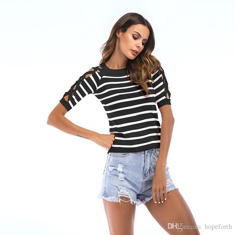 Las mujeres 2018 de verano de manga corta camiseta de las mujeres a rayas cruzada ahueca hacia fuera el cuello redondo moda europea y americana casual camiseta