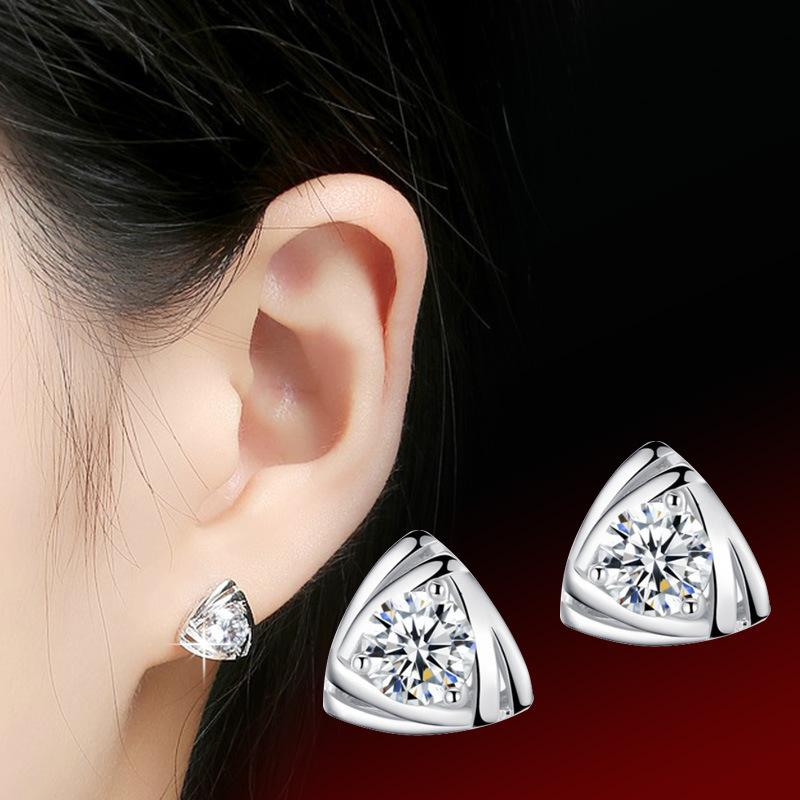 Original Triangle Type Earring Product Plate With Silver Decorate Woman Earrings Han Banxin The Heart Of Love Ear Nail Women's