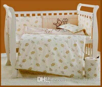 New style 5 item Baby bedding set Embroidery cartoon bear 100% cotton Crib bedding set quilt pillow bumper bed sheet Cot bedding set