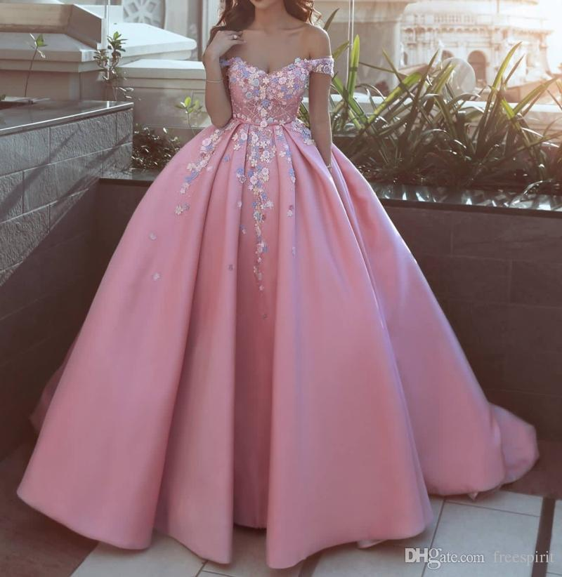 Pink and White Wedding Dress Ball Gown 3D Blue Flowers on Satin Luxury Beading Sheer Top Off the Shoulder Bridal Gown Princess Style