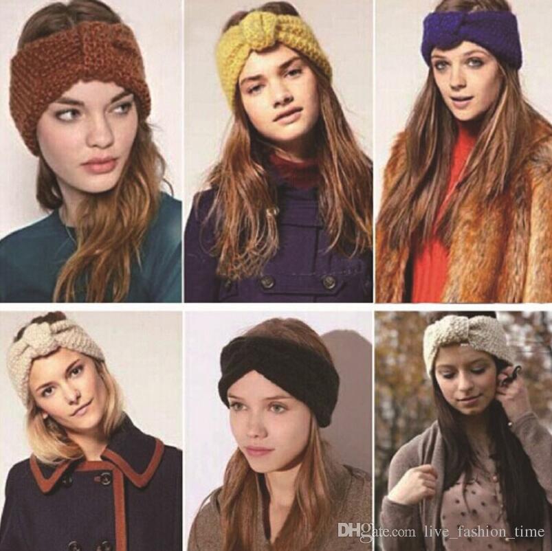 Fashion Autumn Winter Warmer Ear Knitted Headband Turban For Lady Women Hair Accessories Girl Hair Band Beanies Crochet Hairband Headwrap