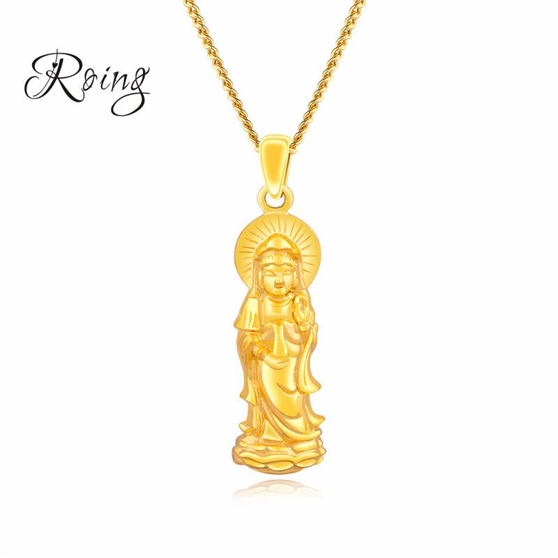 Lucky Jewelry Avalokitesvara Necklace & Pendant Men/Women Gold Color Buddha Buddhism Buddhist Jewelry Wish Gift KX689