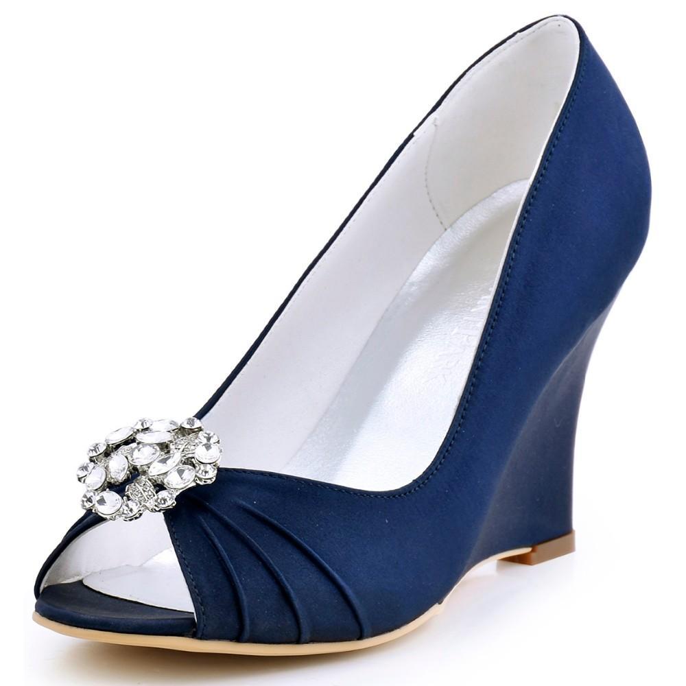 Женщины Клин каблуки свадебные свадебные насосы EP2009AH темно-синий чирок Peep Toe горный хрусталь атласная невеста Леди невесты платье выпускного вечера обувь