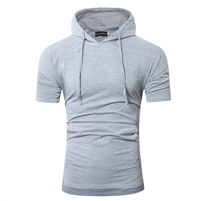 2018 yeni rahat T-shirt erkek Yaz tarzı slim fit erkek katı moda Marka kısa kollu Kapşonlu t-shirt erkekler Tops AB boyutu M-XXL