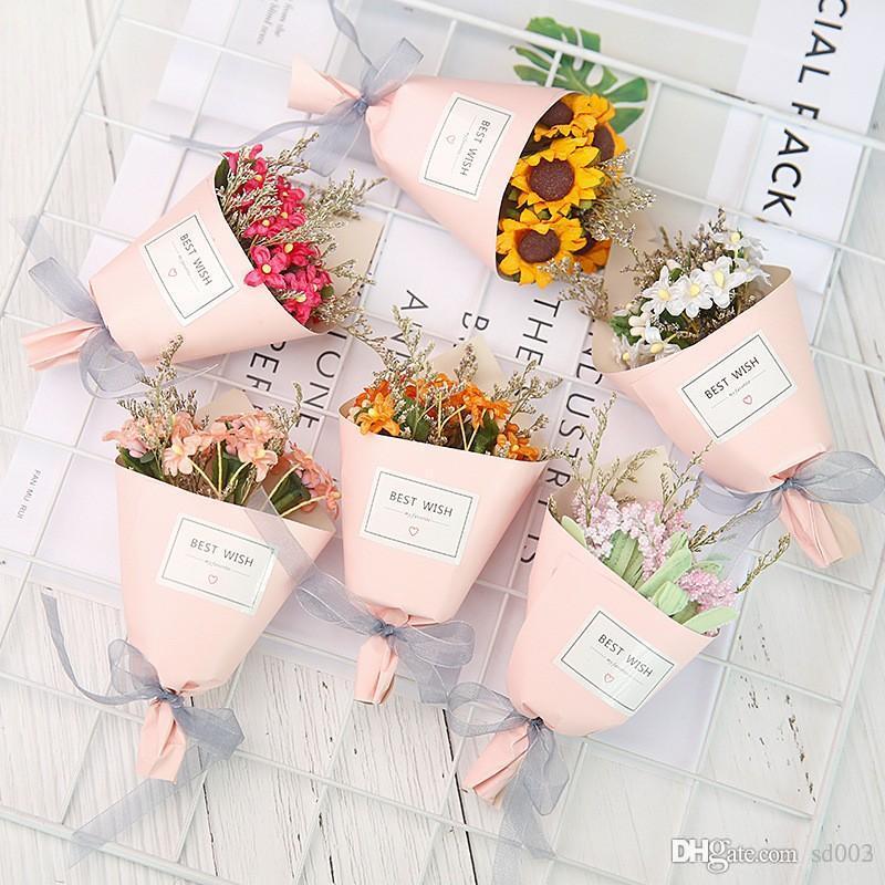 인공 꽃 가짜 해바라기 작은 데이지 시뮬레이션 말린 된 꽃 결혼식 파티 장식 꽃다발 발렌타인 데이 선물 5 4mr ZZ