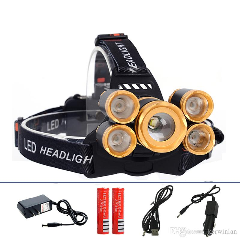 5 LED Headlight 16000 Lumens Cree XM-L T6 Head Lamp High Power LED Headlamp +2pcs 18650 Battery +Charger+car charger