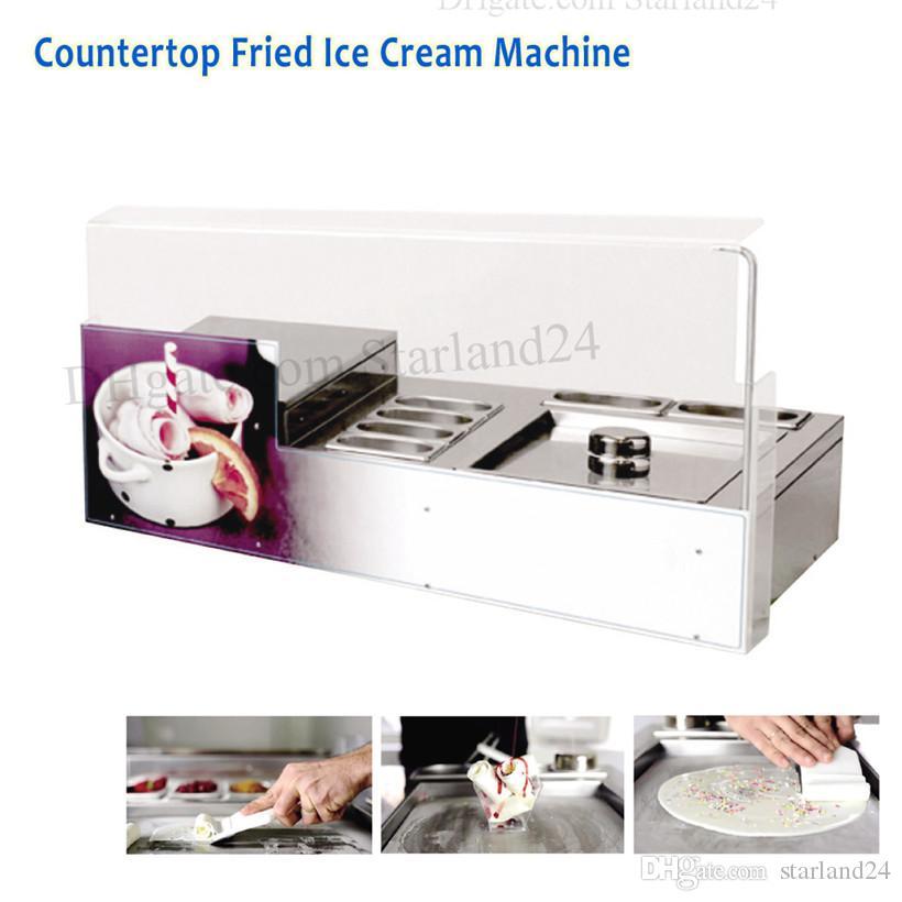 Masaüstü Kare Tava Kızarmış Dondurma Rulo Makinesi 6 Tencere ile 220 V Ticari Buz Yoğurt Rulo Makinesi
