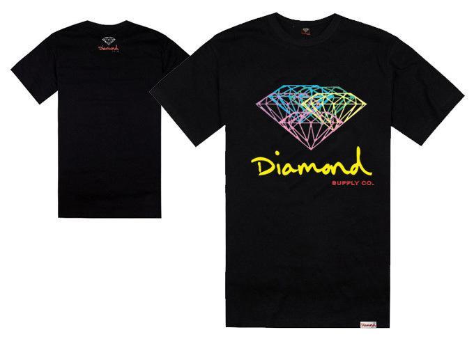 Fornecimento de diamante co hip hop homens e mulheres hip hop o-pescoço camisa de manga curta dança de rua desgaste top quality