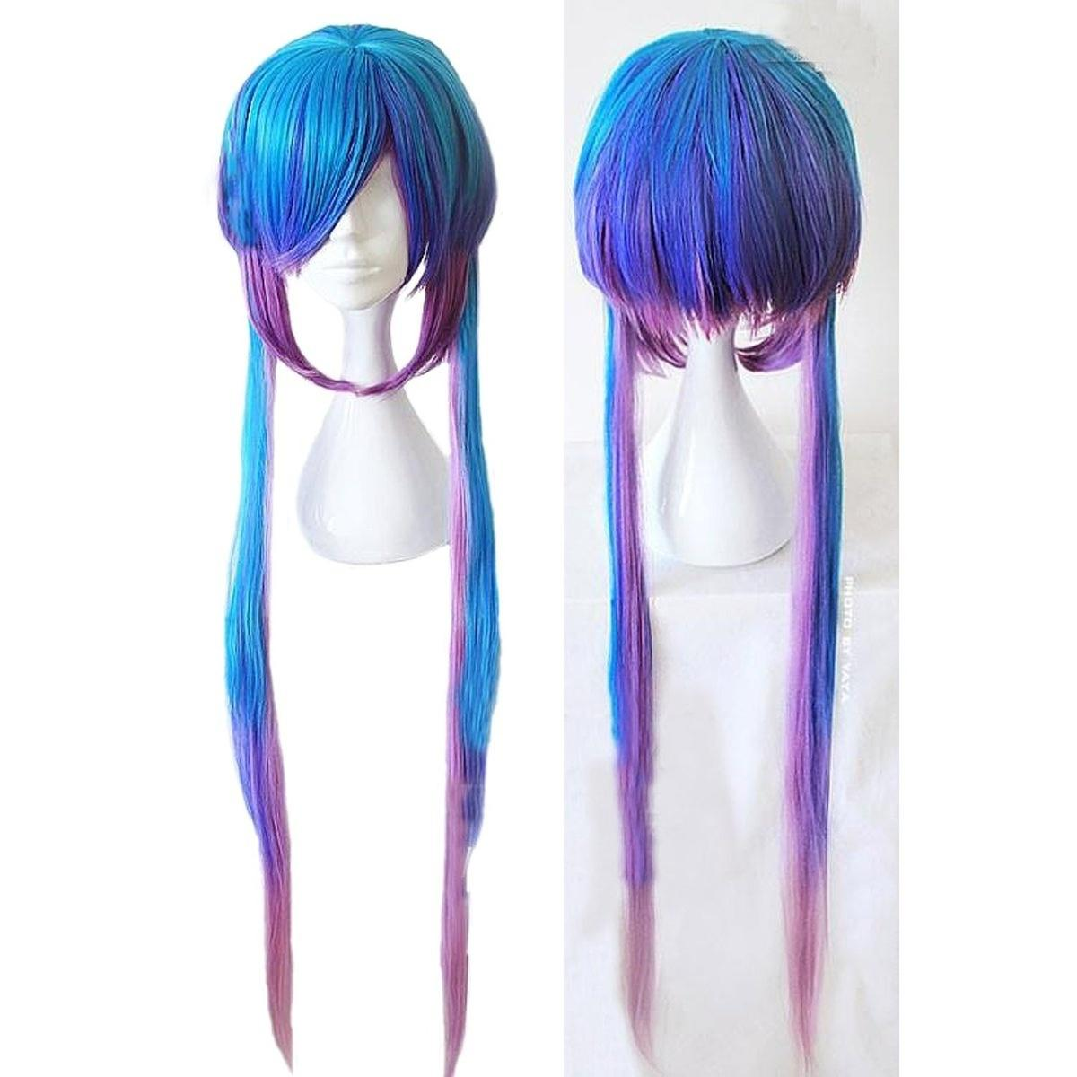 Womens Straight Two Tone Costume Cosplay Wigs Long Gradient Purple Blue