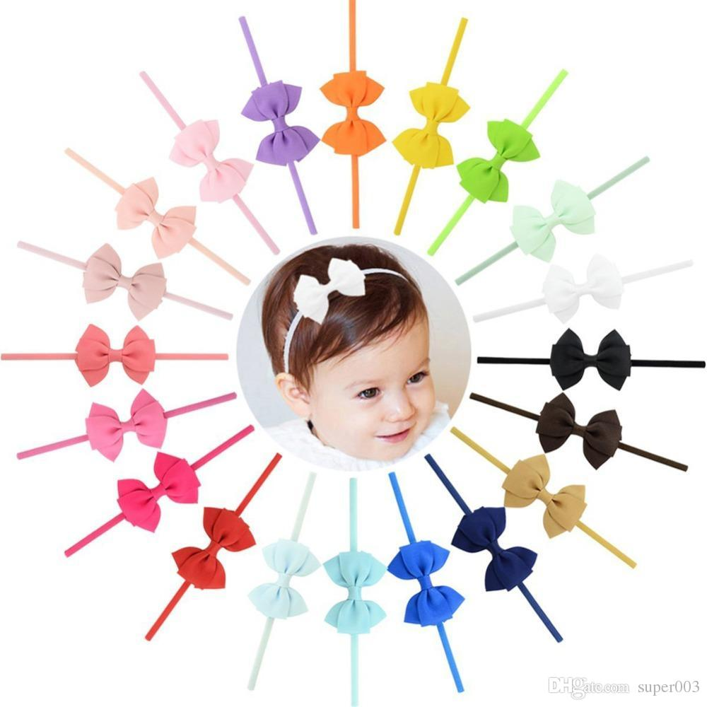 20pcs/lot New Design kids Small Lovely Bow Tie Headband Bow-knot Grosgrain Ribbon Bow Elastic Bands Hair Accessories 704