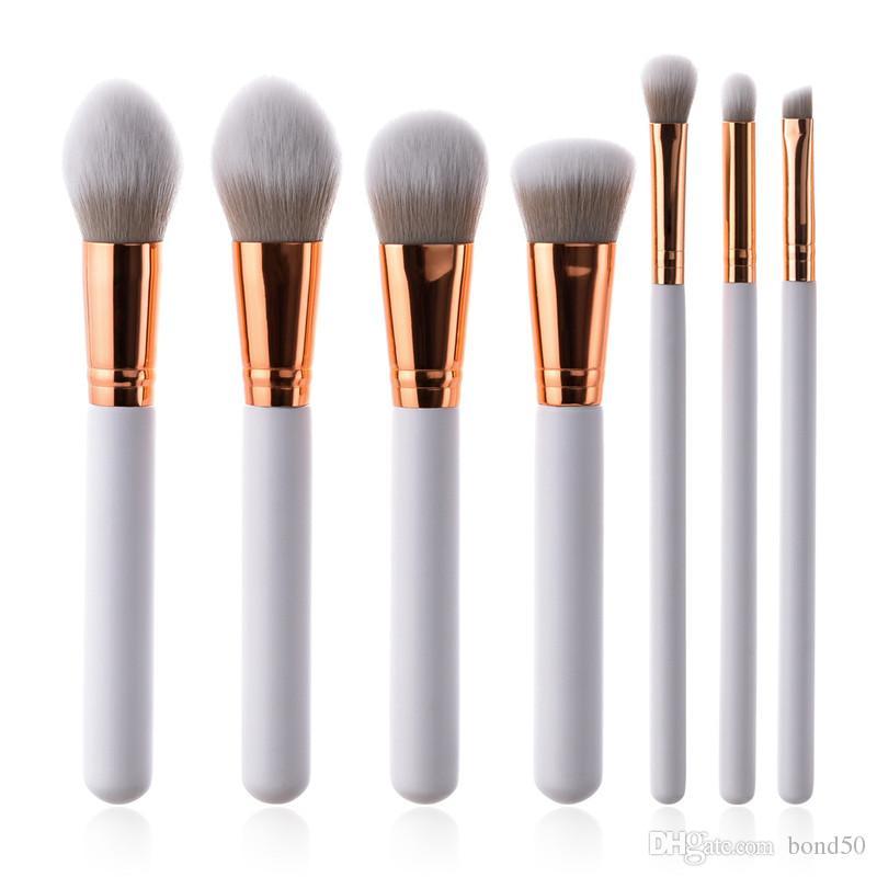 7pcs/набор кистей для макияжа Набор белый золотой фонд Румяна порошок косметический макияж кисти тени для век смешивания брови кисти инструменты вентилятор T07033