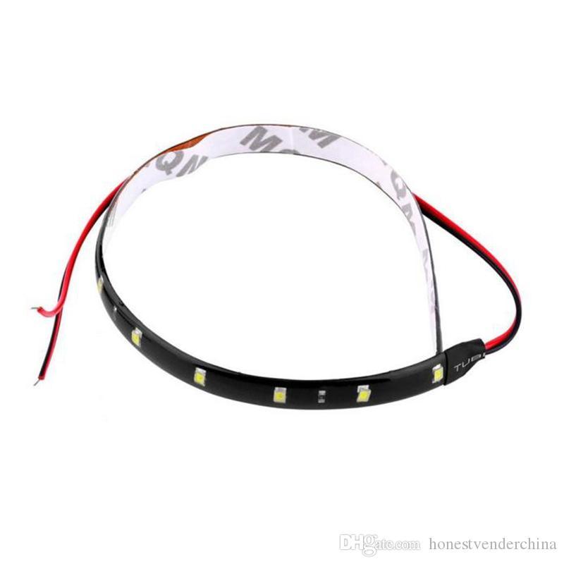 10 pieces 30cm 12V 15 LED Car Auto Motorcycle Waterproof Strip Lamp Flexible Light